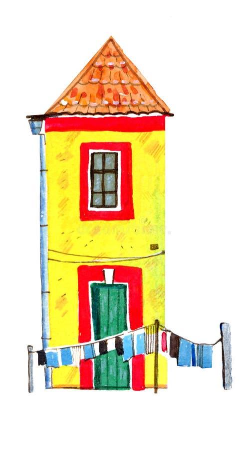 Casa europeia de pedra velha amarela com linho de secagem Ilustração tirada mão da aquarela dos desenhos animados ilustração do vetor
