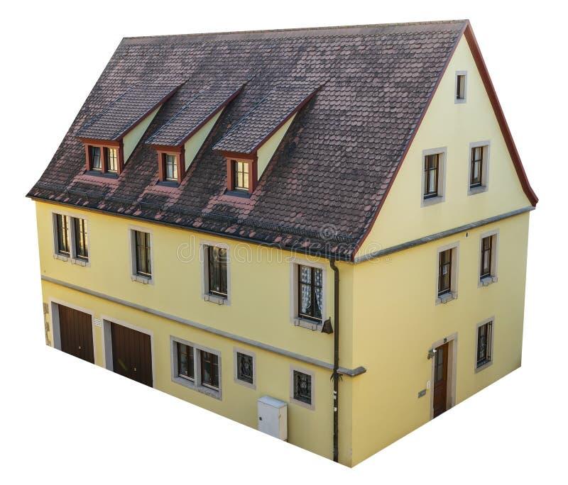 Casa europeia velha isolada do estilo com telhado da telha fotos de stock royalty free