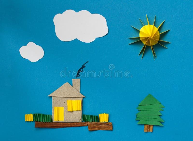 A casa fêz o papel do ââof sobre o papel azul ilustração do vetor