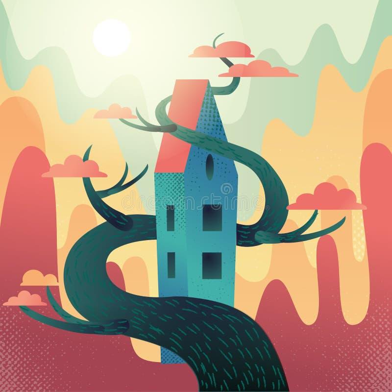 Casa fabulosa con el tejado, entrelazado con el árbol en las montañas, fondo de las colinas El tiempo del otoño, sol caliente de  stock de ilustración