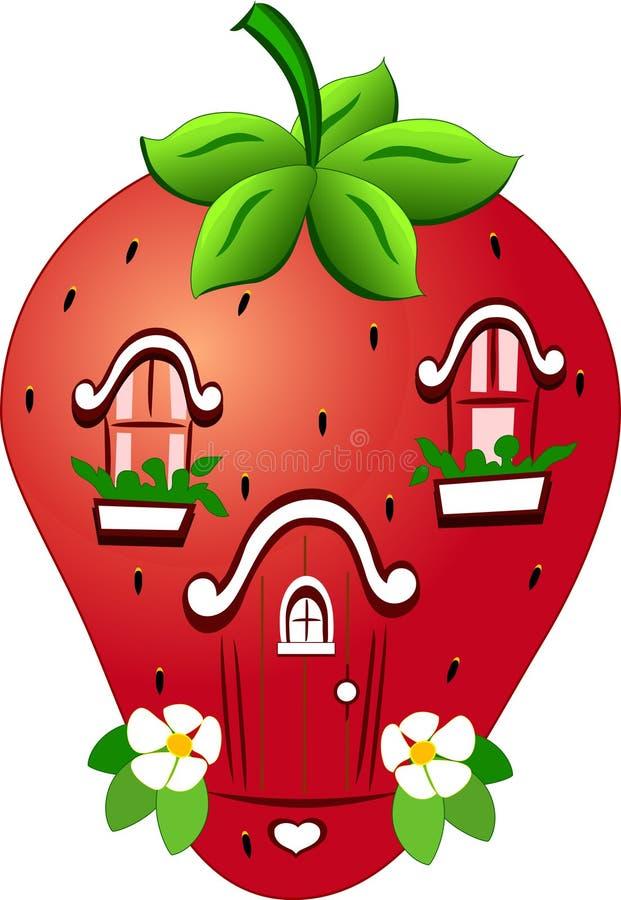 Casa fabulosa de la fresa stock de ilustración