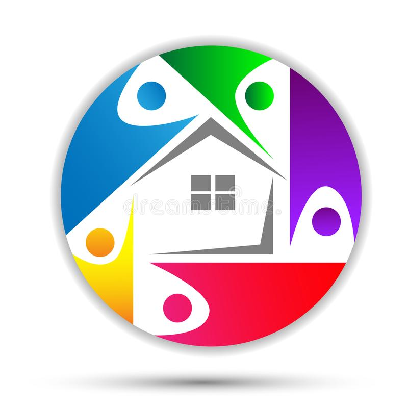 Casa familiar, logotipo feliz do cuidado da casa, logotipo do conceito da união no círculo ilustração do vetor