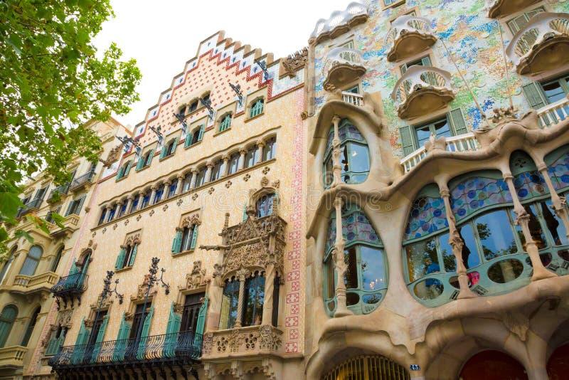 Casa famosa Batllo y casa Amatller en Barcelona foto de archivo