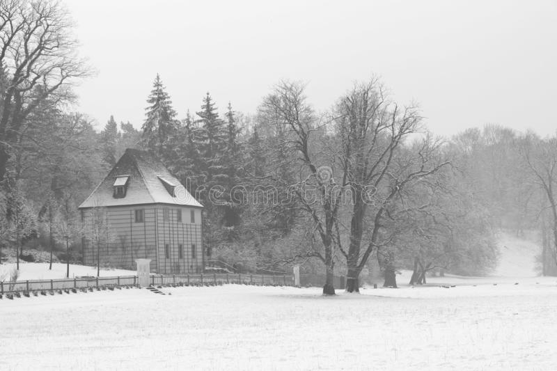 Casa famosa del goethe nel ilmpark di Weimar nell'inverno immagine stock libera da diritti