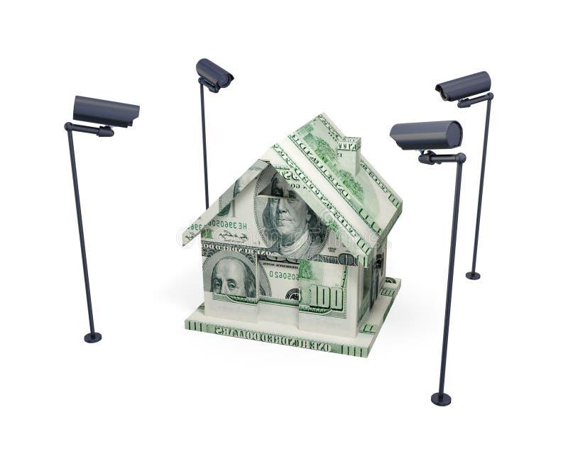 Casa feita de câmeras do dinheiro e da observação. ilustração royalty free