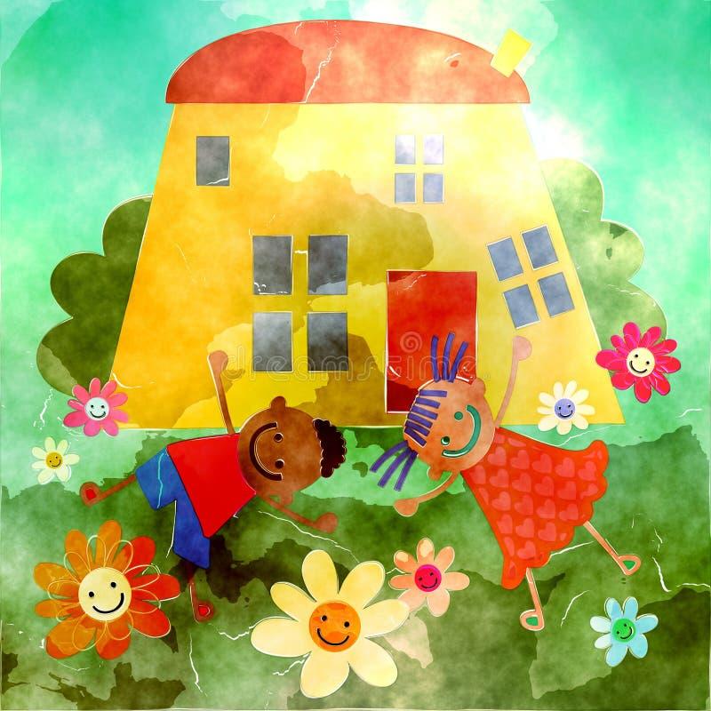 Casa feliz da aquarela ilustração royalty free