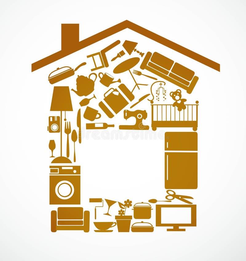 Casa fijada con muebles y elctronics stock de ilustración