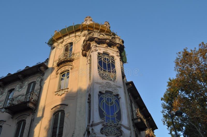 Casa Fleur in Turin. TURIN, ITALY - CIRCA SEPTEMBER 2016: Casa Fleur aka Casa Fenoglio liberty house stock photos