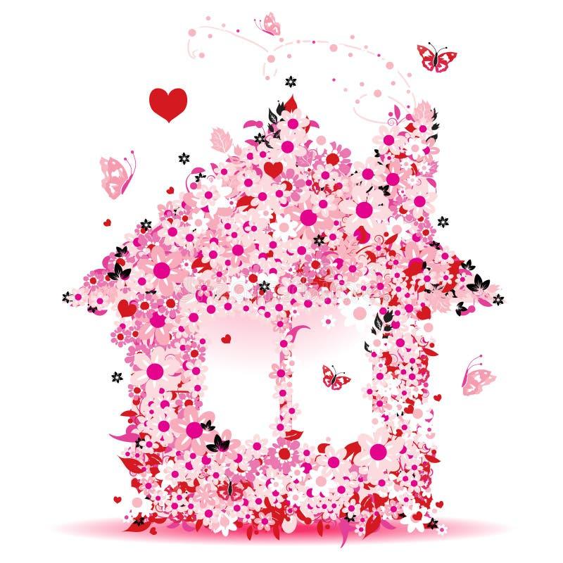 Casa floral ilustração stock