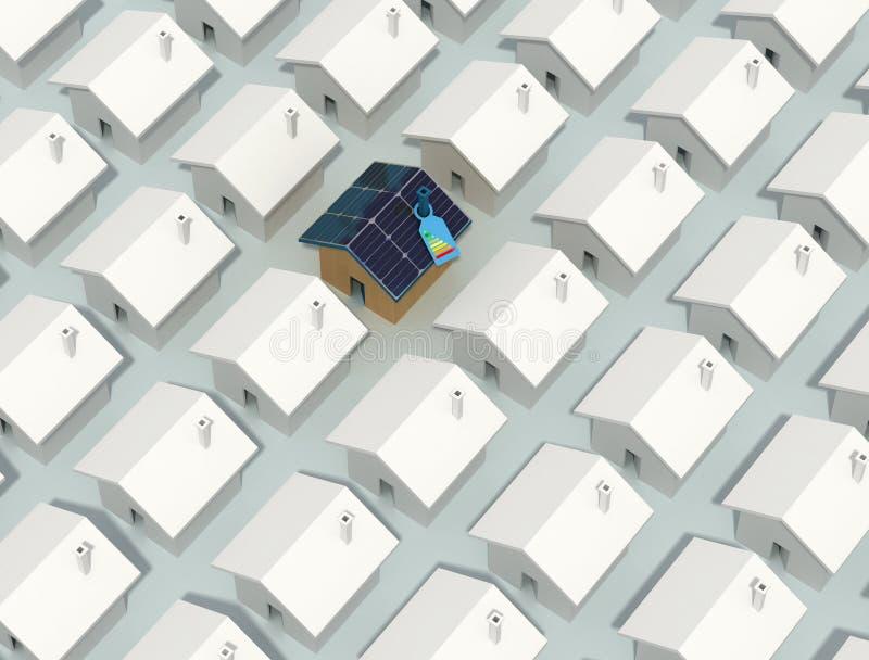 Casa fotovoltaica unica royalty illustrazione gratis