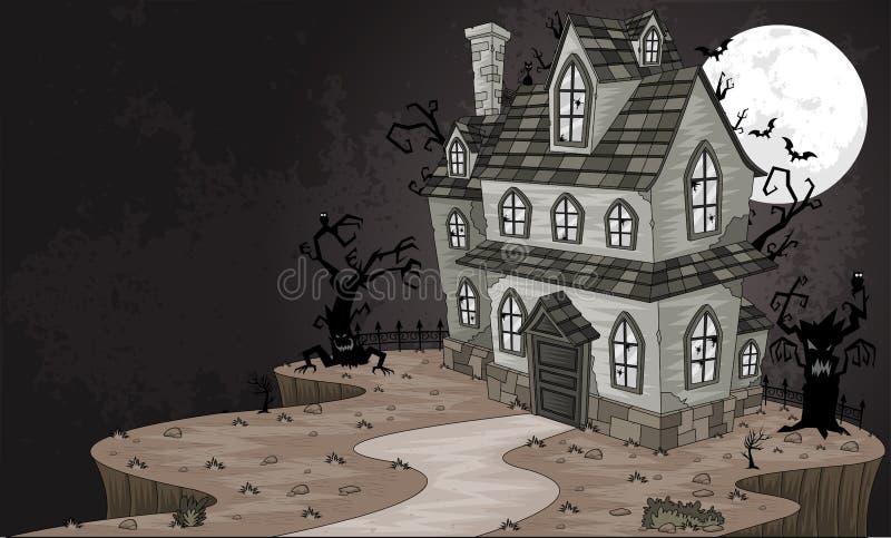 Casa frecuentada asustadiza ilustración del vector
