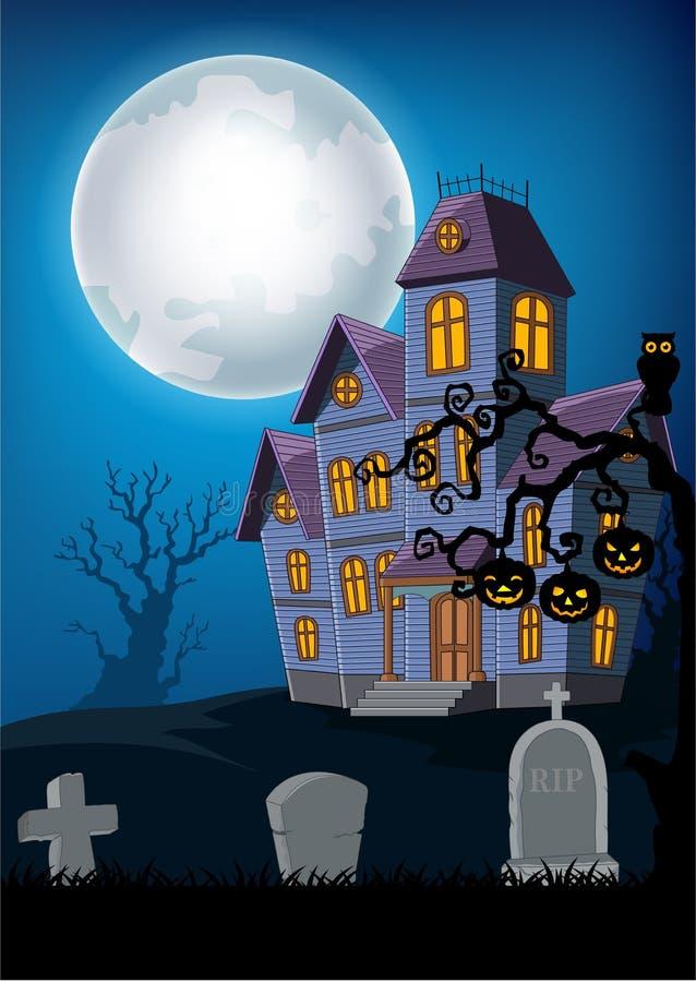 Casa frequentata fumetto con il fondo di Halloween royalty illustrazione gratis