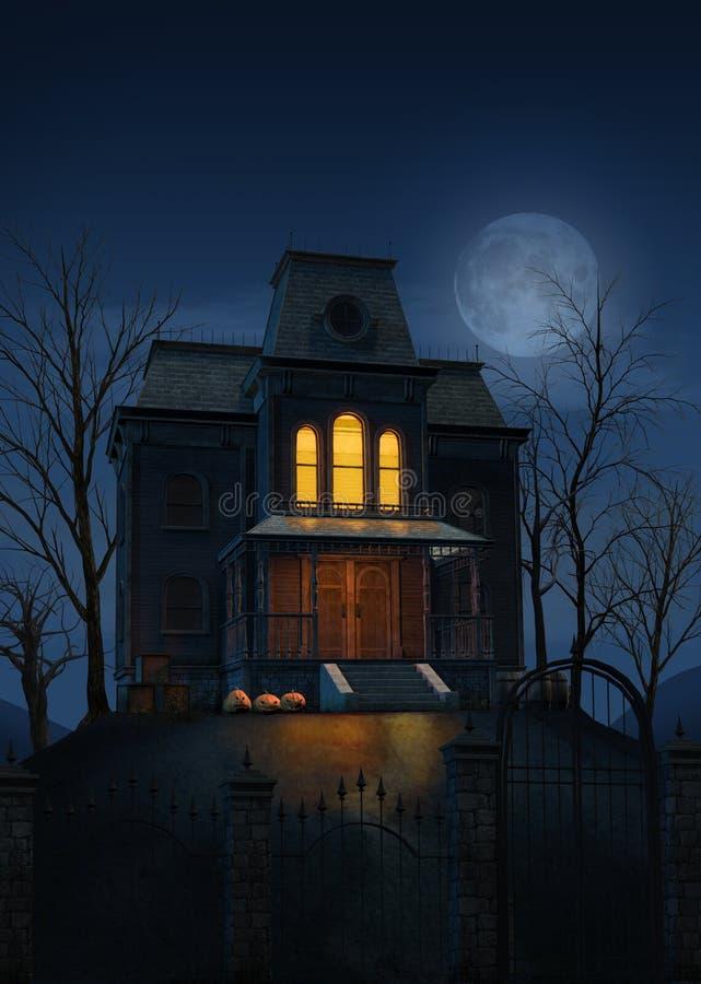 Casa frequentata spettrale del fantasma a Halloween illustrazione di stock