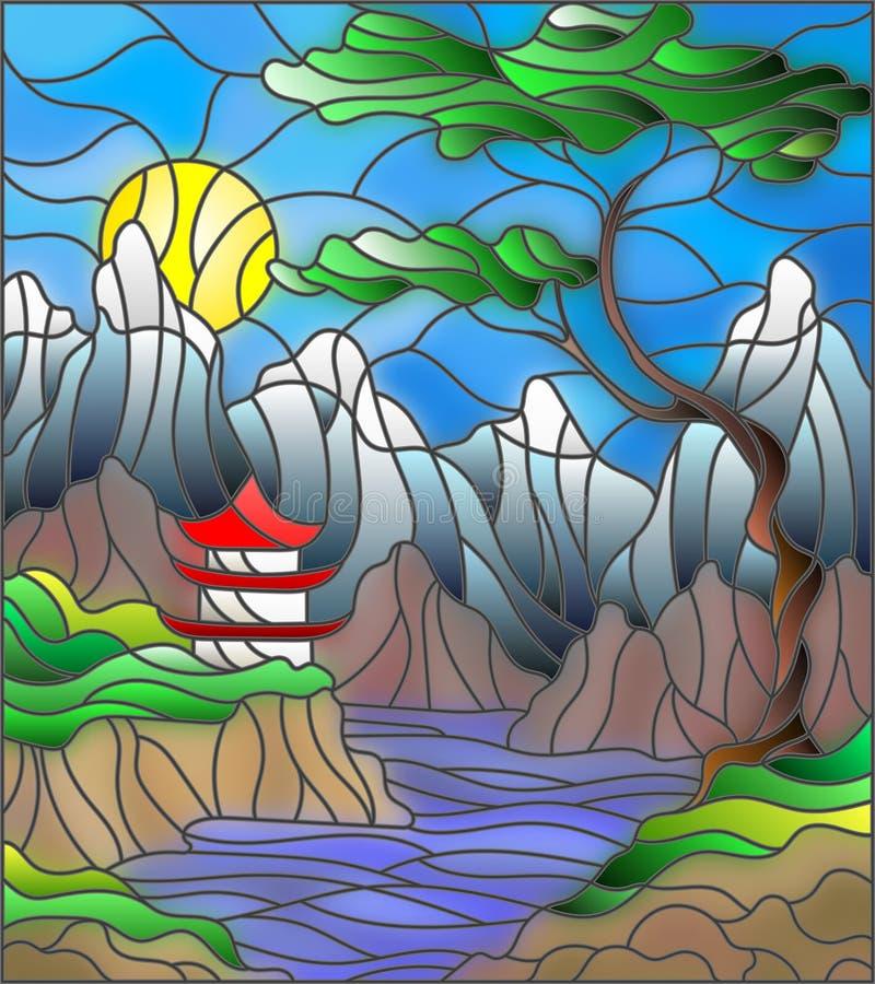 Casa giapponese del paesaggio dell'illustrazione del vetro macchiato sul fondo, sulle montagne e sui fiumi del cielo royalty illustrazione gratis