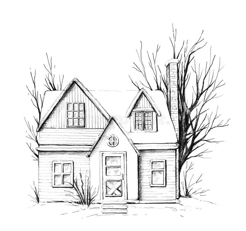 Casa gráfica do inverno na neve