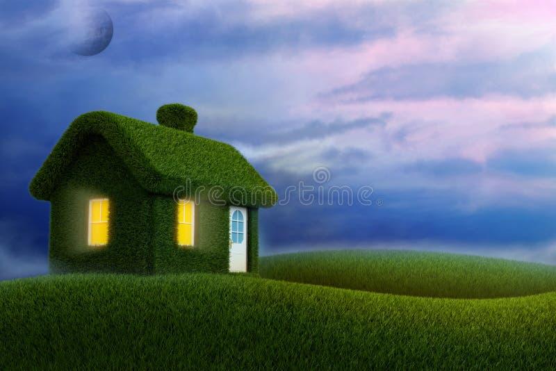 Casa gramada 3d para render ilustração stock