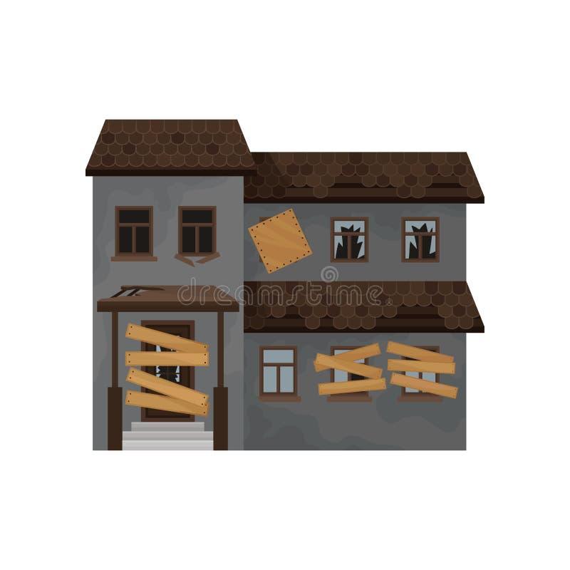 Casa grande com telhado destruído, as janelas embarcadas-acima e a porta Edifício abandonado Fachada da casa de campo velha Ícone ilustração royalty free