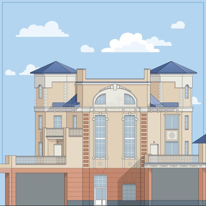 casa grande do Quatro-andar com as paredes de tijolo bege e um telhado azul Em um estilo clássico ilustração stock