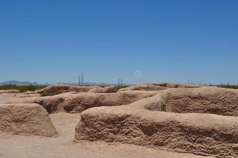 Casa Grande Ruins - The old and the new stock images