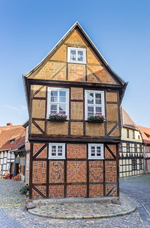 Casa a graticcio nel centro storico di Quedlinburg immagini stock libere da diritti