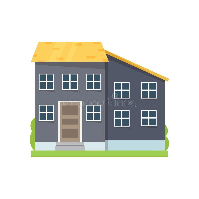 Casa gris colorida con el tejado amarillo en ciudad grande stock de ilustración
