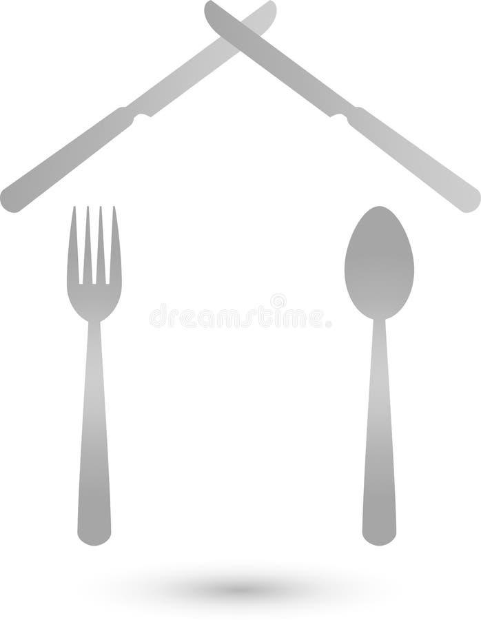 Casa hecha del logotipo de los cubiertos, del restaurante y del bocado, icono, botón ilustración del vector