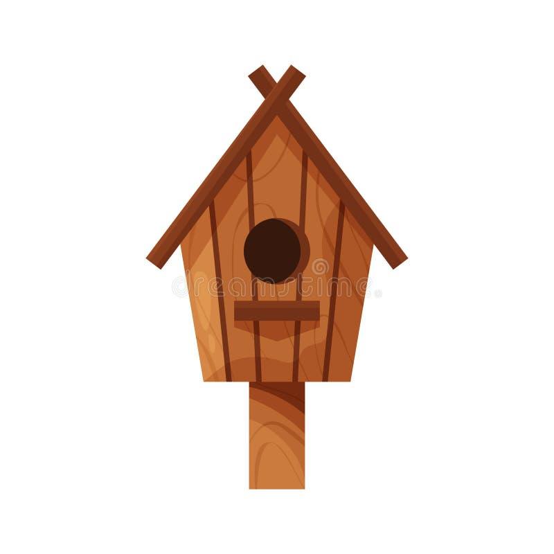 Casa hecha a mano de madera del p?jaro aislada en el fondo blanco Nidal hecho en casa de la historieta con un polo, birdbox de la libre illustration
