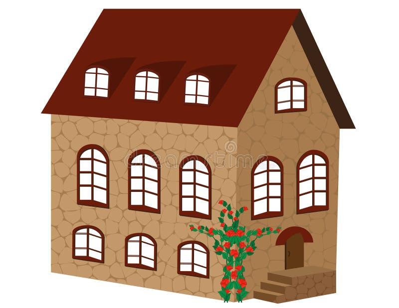 Casa hermosa del ladrillo stock de ilustración