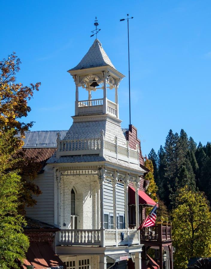 Casa histórica do fogo, Nevada City, Califórnia imagem de stock