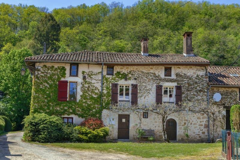 Casa histórica, pueblo de Santo-Jean-de-Cole, Francia foto de archivo libre de regalías