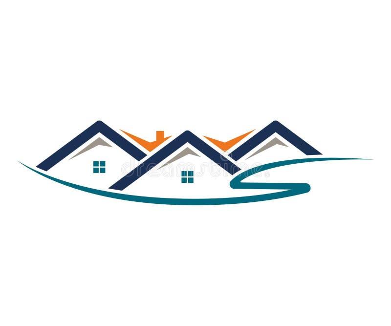 Casa, hogar, propiedades inmobiliarias, logotipo, diseño azul del vector del edificio de la subida del símbolo de la arquitectura imagen de archivo libre de regalías