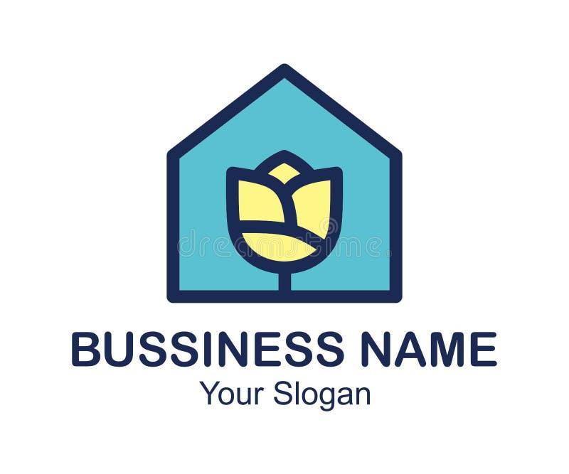 Casa, hogar, propiedades inmobiliarias, logotipo, diseño azul del vector del edificio de la subida del símbolo de la arquitectura foto de archivo