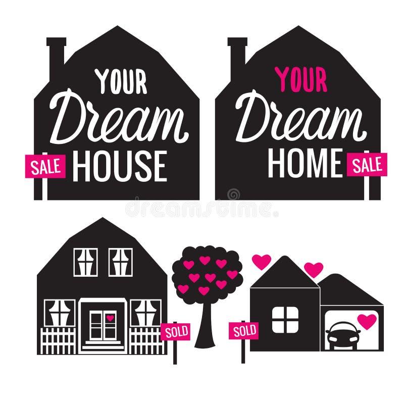 Casa ideal determinada su hogar del amor Ejemplo negro del vector de la muestra aislado en el fondo blanco stock de ilustración