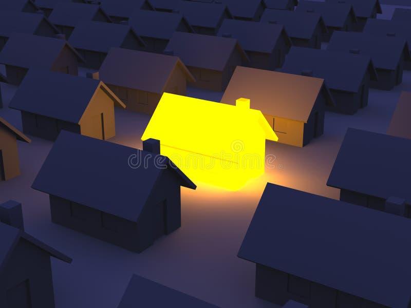 Casa iluminada del juguete stock de ilustración
