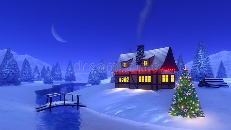 Casa iluminada en montaña en la noche de la Navidad libre illustration