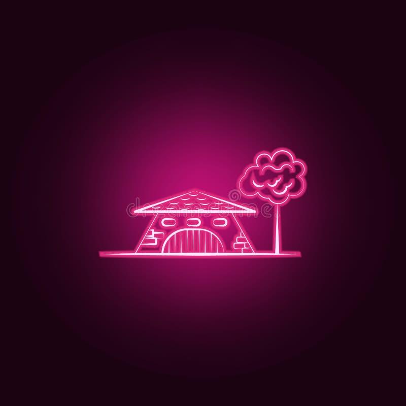 Casa immaginaria, icona al neon dell'albero Elementi dell'insieme immaginario della casa E royalty illustrazione gratis