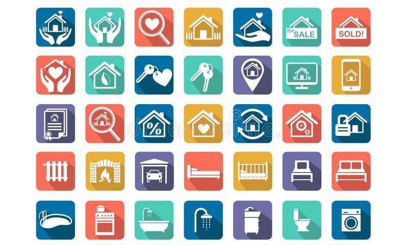 Casa, insieme dell'icona del bene immobile royalty illustrazione gratis