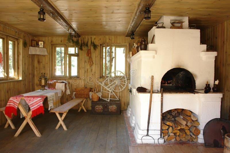 Casa interior com forno fotos de stock