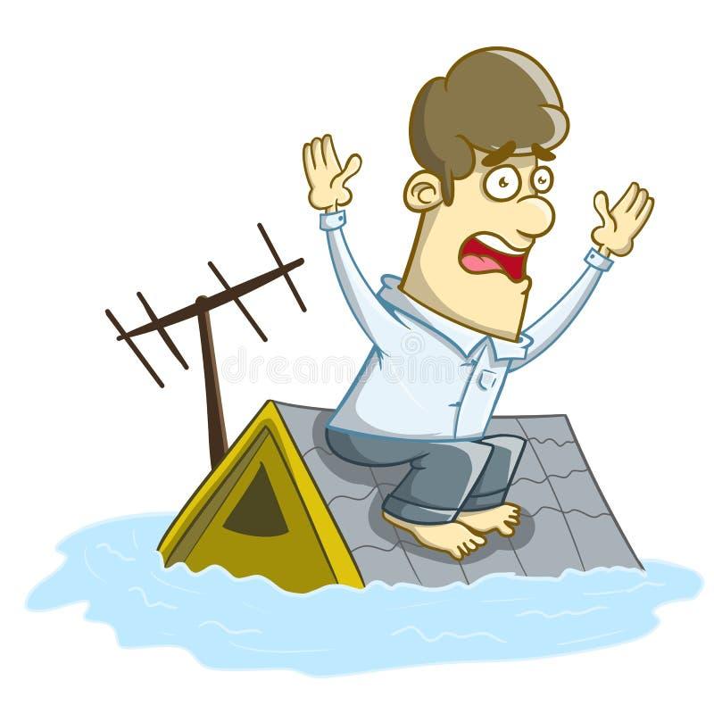 Casa inundada debajo del agua libre illustration