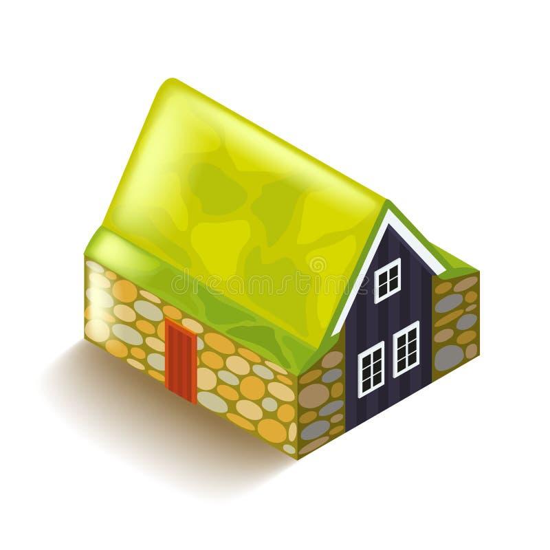 Casa islandêsa da turfa no vetor branco ilustração stock
