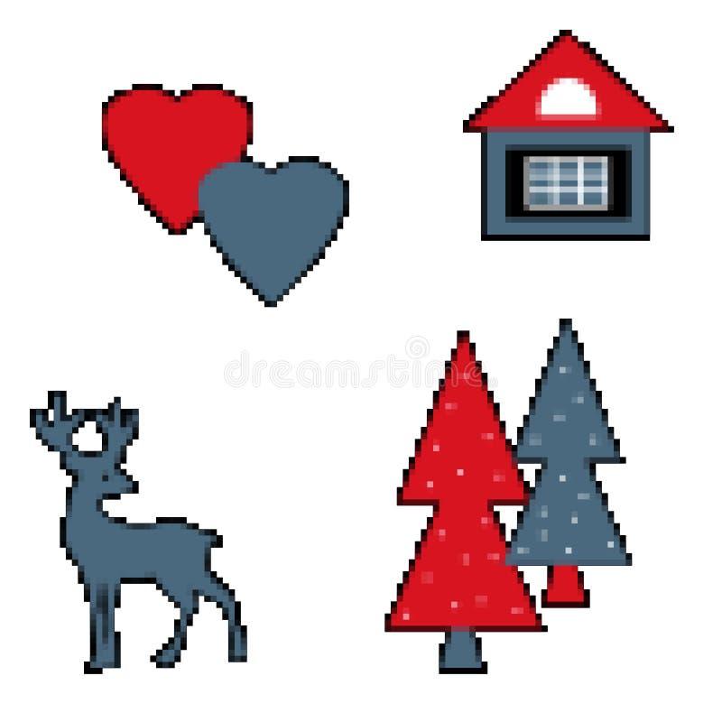 Casa isolada dos corações da véspera da árvore dos cervos do pixel no branco ilustração do vetor