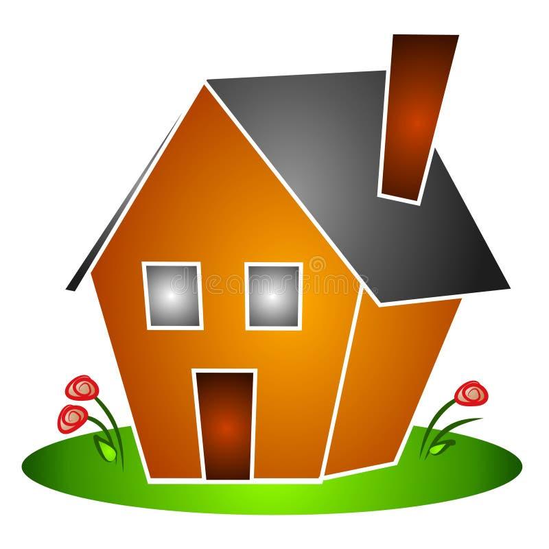 A casa isolada floresce Clipart ilustração royalty free