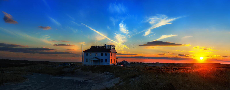 Casa isolada no litoral nacional de Cape Cod, Massachusetts, Provincetown EUA imagem de stock