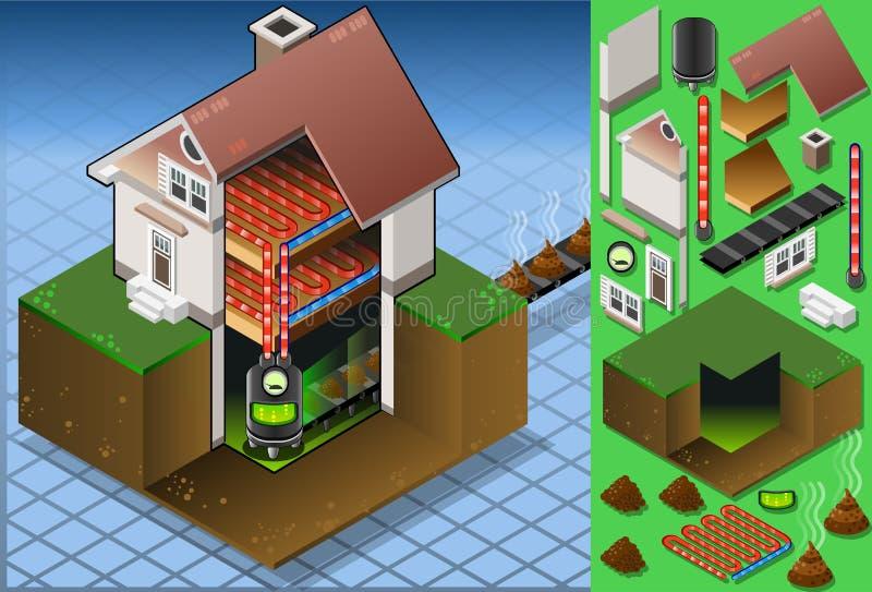 Casa isométrica com a bio caldeira do combustível ilustração do vetor