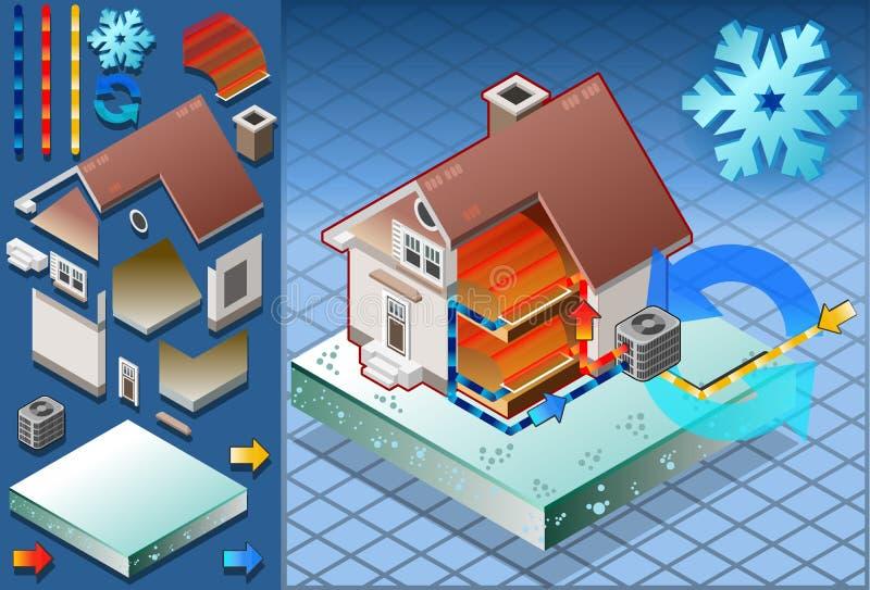 Casa isométrica com o condicionador na produção de calor ilustração do vetor