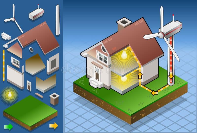 Casa isométrica com turbina de vento ilustração do vetor