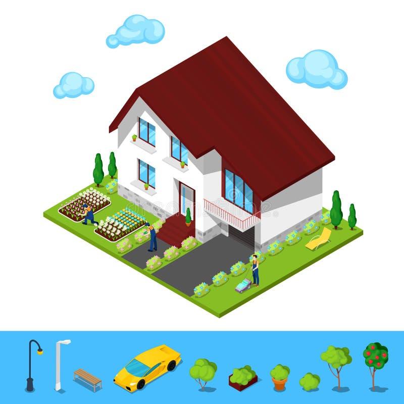 Casa isométrica con la yarda y los jardineros verdes stock de ilustración