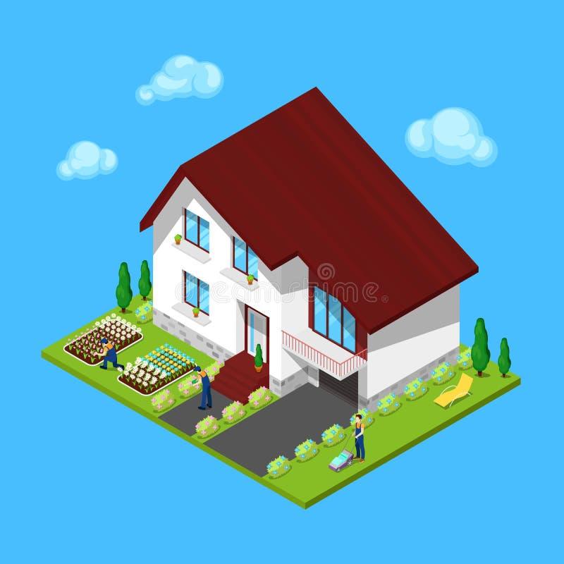 Casa isométrica con la yarda y los jardineros verdes ilustración del vector