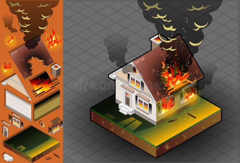 Casa isométrica en el fuego ilustración del vector