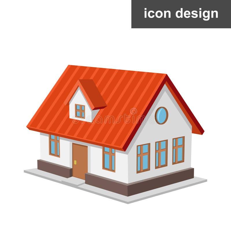 Casa isometrica dell'icona fotografia stock libera da diritti